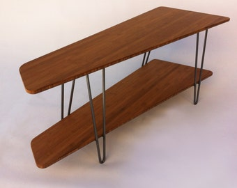 Contemporary Mid Century Modern TV Stand Media Console With Shelf   Low  Hall Table In Caramelized