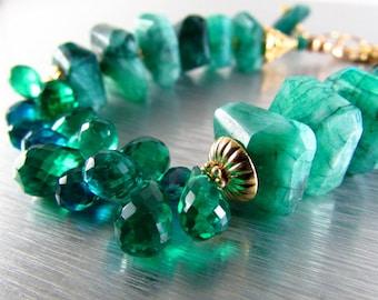 Green Gemstone Bracelet, Green Moonstone and Quartz Bracelet