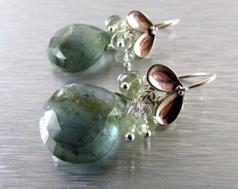 Moss Aquamarine and Sterling Silver Cluster Earrings