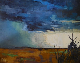 "Large Landscape Painting, Storm Painting, ""Stormfront"" by Carol Schiff, 24x30x1.5 Oil"