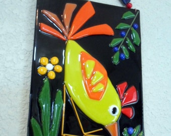 Fused Glass Bird Chicken Rooster Folk Art Whimsical Plaque