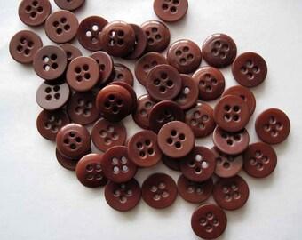 Brown Plastic Buttons Vintage Buttons - 50