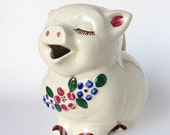 Shawnee Pottery Smiley Pig Pitcher - Embossed Flowers Patented Smiley USA