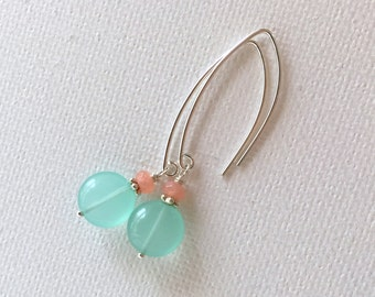 Mint and Coral Earrings. Minty Green Quartz, Coral Agate and Sterling Silver