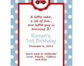 Car Themed Birthday Invitations or Printable PDF File - You Choose The Colors