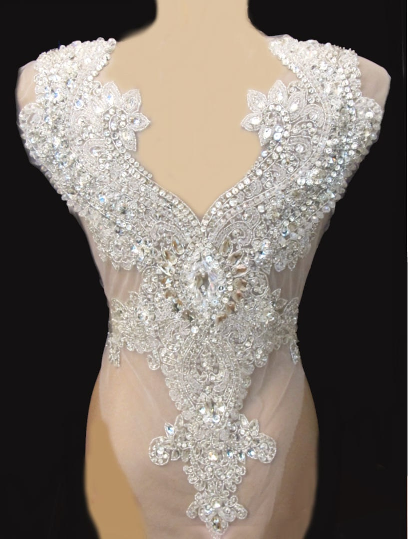 Rhinestone applique for backless wedding gown bridal by for Applique for wedding dress
