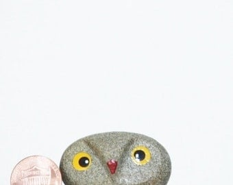 One Of A Kind Hand Carved and Hand Painted Pebble Owl Christmas gift valentine gift idea for her for him just us book worm gift for readers