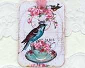 Bird Gift Tags-  Vintage Teacup-Hang Tag-French Party Favor- Bird Lover -Birthday - Crown- Tea Party- Bridal Shower -French High Tea