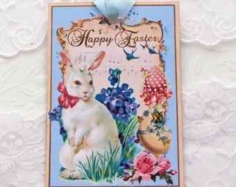 Rabbit Tags, Easter Vintage Retro Gift Tags,White Bunny Rabbit,Happy Easter, Easter Egg Tags, Easter Egg Tags, Handmade  Australia