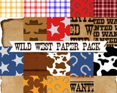 Wild West Paper Pack Instant Download Set of 20 Scrapbooking Papers 8 x 8 300dpi