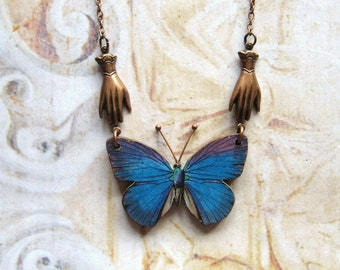 Vintage Blue - Wooden Butterfly and Oxidized Copper Chain Handmade Necklace