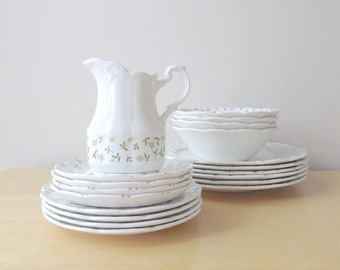 forget me not meakin sterling dishes white and green chintz english ironstone plates bowls pitcher