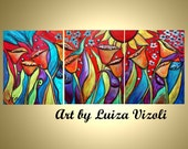 Tulips Original Modern Oil Painting Year of Flowers Triptych Art by Luiza Vizoli made to order