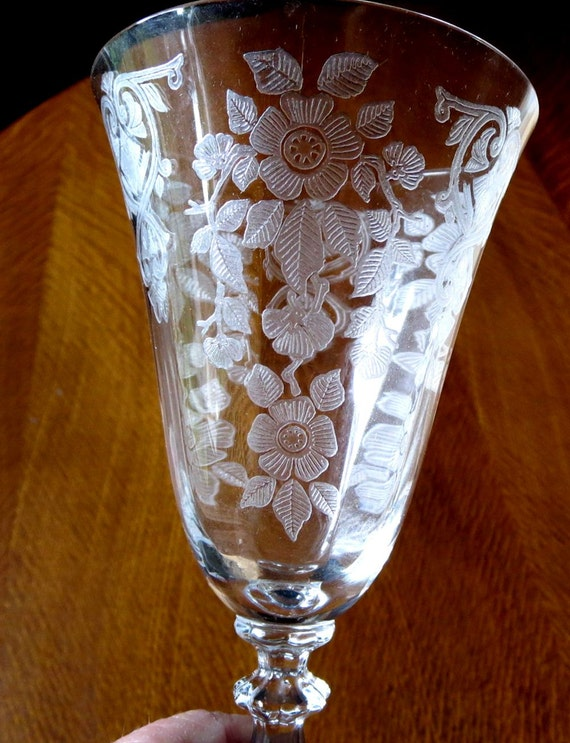 Cambridge Glass Apple Blossom Crystal Goblet Art Deco