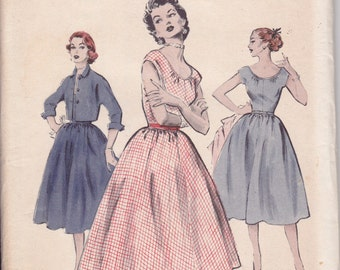 1950s Full Skirt Dress plus Bolero Jacket Pattern - Butterick - Uncut - 16