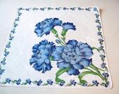Vintage Handkerchief - 1960s Hankie - Hanky - Blue Carnations -  60s Cotton Handkerchief - Floral Handkerchief - Shower Favor - Gift for Her