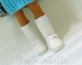 Hearts 4 Hearts Doll  Boots. White Tall Boots, Faux Leather Knee High Boots, also fit Les Cheries Dolls