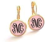 Blush Pink Monogram Earrings Leverback, Bridesmaid Gift, Monogram Jewelry, French Earrings (471)