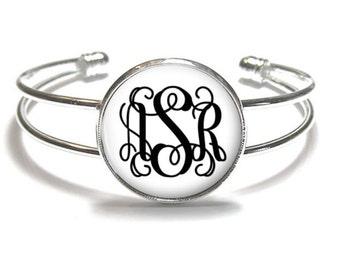 White Monogram Bracelet, Monogram Bangle, Monogram Jewelry, Bridesmaid Gift, Personalized Bracelet - Style 374