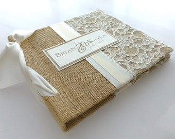 8x8 recipe book for cards-burlap and lace