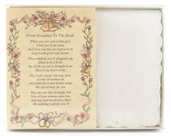 Personalized From Grandma to the Bride Wedding Handkerchief - BH137