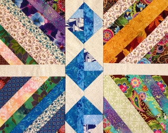 Modern Abstract Quilt, Scrap Quilt, Quilted Wall Hanging, Modern Hanging Quilt, Abstract Design Quilt, Scrappy Quilt
