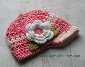Crochet Baby Hat, Baby Girl Hat,  Toddler Crochet Hat, Baby Girl,  Crochet Hat, Infant Winter Hat, Baby Hat, Pink Hat, MADE To Order