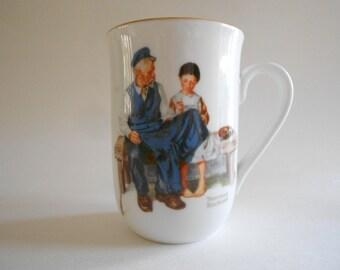 Vintage 1982 Norman Rockwell Mug The Lighthouse Keeper's Daughter Collectible Mug Porcelain Mug Norman Rockwell Cup
