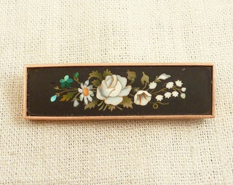 Antique 14K Gold Pietra Dura Style Floral Arrangement Plaque Brooch