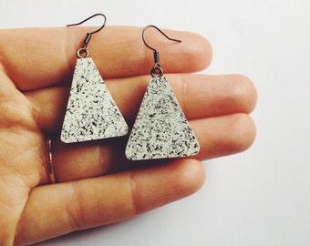 Dangle Earrings - wooden monochrome speckled