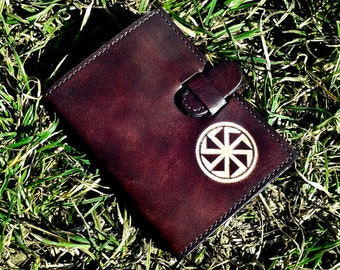 Kolovrat Handpainted Leather Credit Card Wallet For 6 Credit Cards - FREE Shipping Worldwide - Slavic Mythology Sun God Svarog Symbol