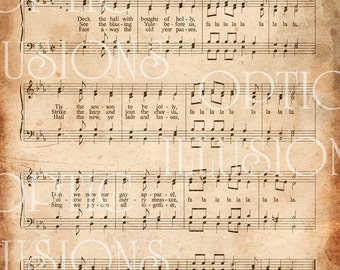 Vintage Christmas Sheet Music -  Set of 2 - Deck the Halls and O Holy Night - INSTANT DOWNLOAD -2.00