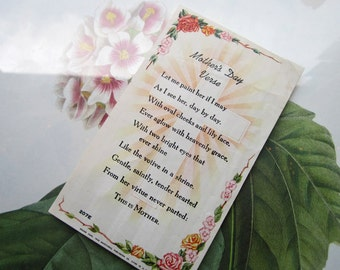 Vintage Mothers Day Verse * Small Devotional Paper * Free Shipping