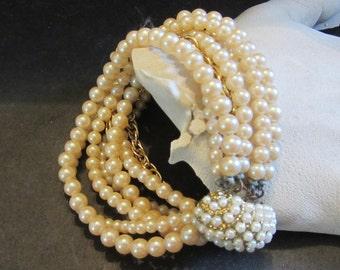 Pearl and Gold Link 8 Strand Bracelet  Vintage 1950 Very Special Bridal Bracelet