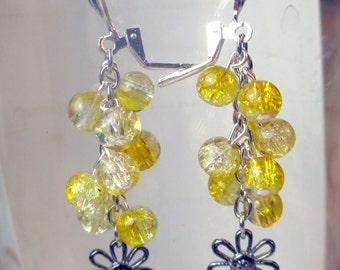 Yellow Cracked glass beads in a dangle earring with metal daisy charm, yellow earrings, sunshine yellow earrings