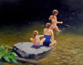 Mountain Swimmers, Oil Painting Landscape with Stream, 16x20 Oil on Canvas with Figures