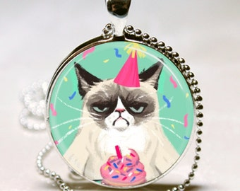 GRUMPY CAT charm necklace Happy Birthday Gift Cupcake Altered Art Pendant granddaughter gift party hat