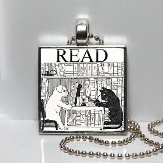 Vintage Cat Dog in Library READ Altered Art GLASS Pendant Charm Necklace