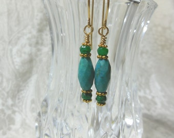 Turquoise and Emerald Earrings