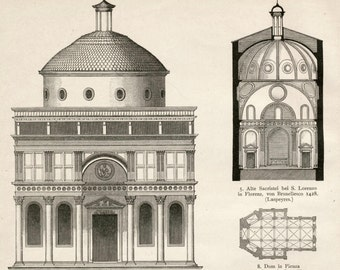 1888 German Antique Architectural Print on Italian Church Architecture up to the 17th Century.  Plate 71
