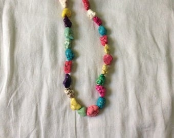 Chunky western cowgirl necklace multiple colors.