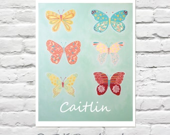 Girls Wall Art - Personalized Guilded Group of Butterflies 8x10 - childrens art, kids room