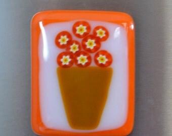 Flower Basket in Orange Large Fused Glass Magnet