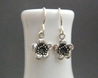 tiny silver flower earrings. small plum earrings. oxidized sterling dangle. floral botanical nature gardener. drop earrings. simple jewelry