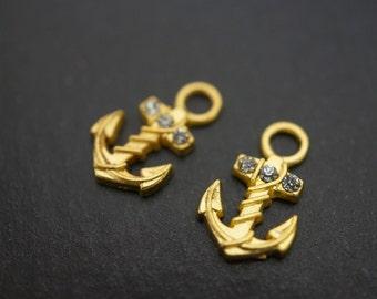 SALE - 18K Gold Plated 3D Anchor Charm Pendants - 10mm- 2 pieces