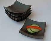 Appetizer Plates, Set of 6 Tapas Plates, Dark Brown, Blue Gray, Ships Fast, Cocktail Plates, Mini Stacking Dishes, Hors d'oeuvres