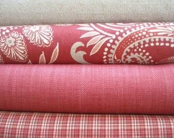 CHOOSE Your COORDINATES -Both Sides-Persimmon- Red- Natural-Ivory - Decorative Designer Pillow Covers-Red Throw /Lumbar Pillow