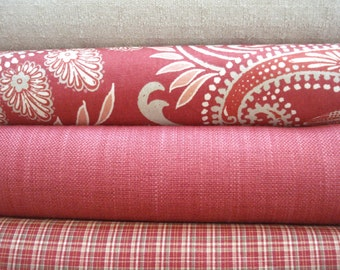 CHOOSE Your CO-ORDINATES -Both Sides-Persimmon- Red- Natural-Ivory - Decorative Designer Pillow Covers-Red Throw /Lumbar Pillow