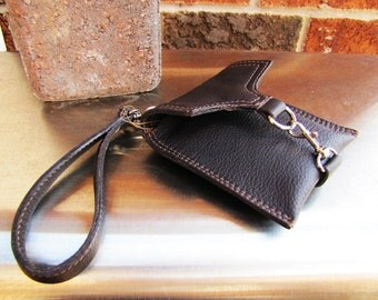 Dark Brown leather wristlet, small leather case, small iPhone case wallet, credit cards wallet, Custom to fit iPhone 6 or 7
