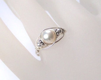 Sterling Silver Ring - Luscious - Wire Wrapped Ring - Sterling Silver and Freshwater Pearl Wrapped Ring - All Sizes Available